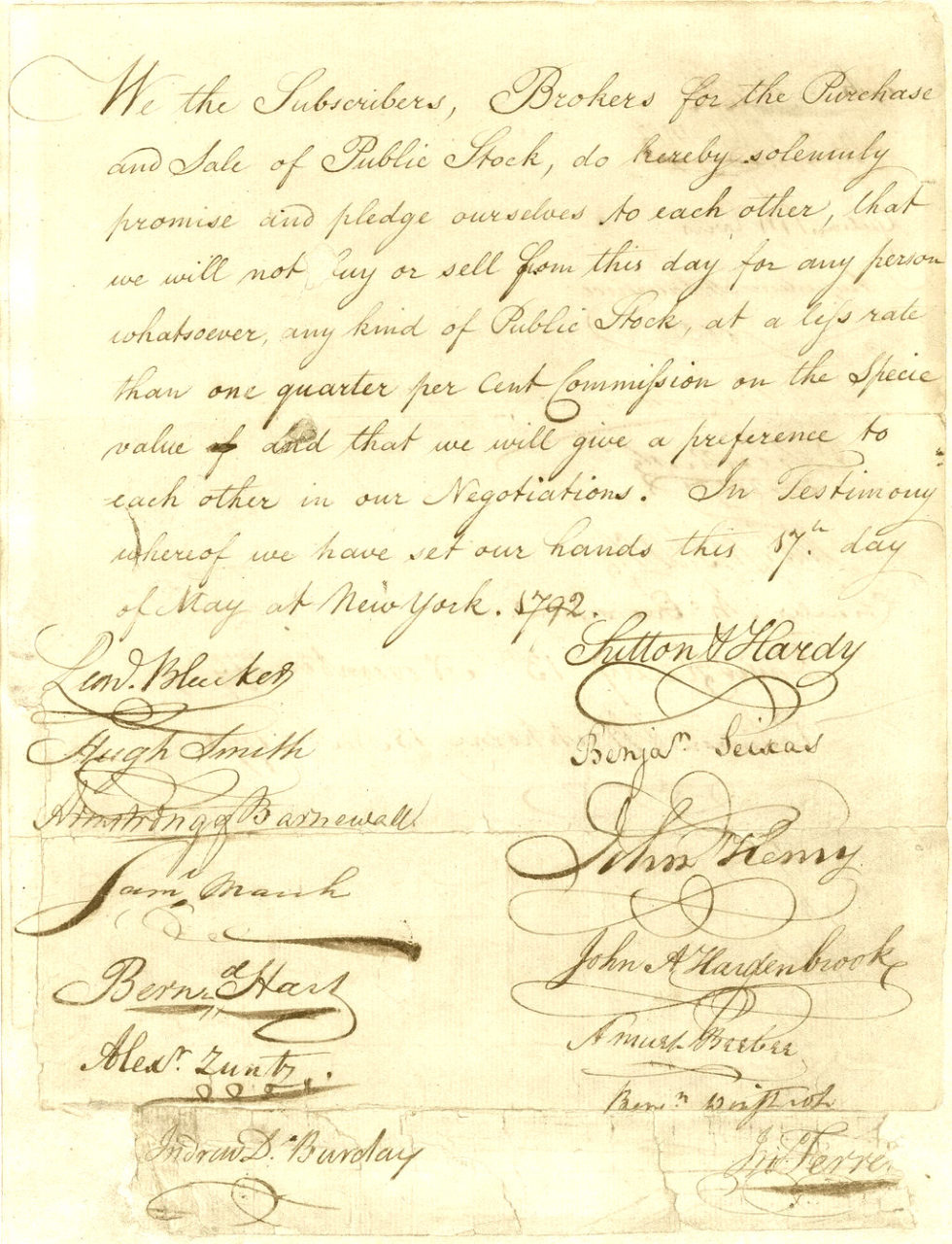 The Buttonwood Agreement, signed in 1792, the founding deed of the American Stock Exchange - How to Use Volume in Trading