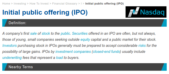 NASDAQ IPO Definition - Upcoming IPO in Share Market