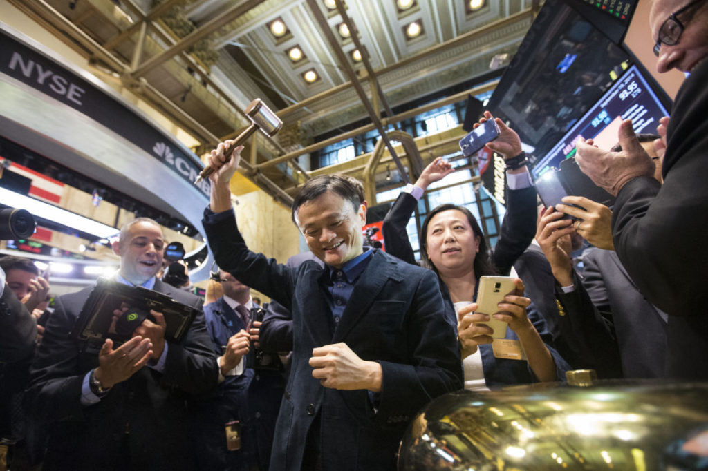 Upcoming IPO in Share Market - BABA - Going Public - Opening Bell on the Floor - Ben Hider/NYSE Credits